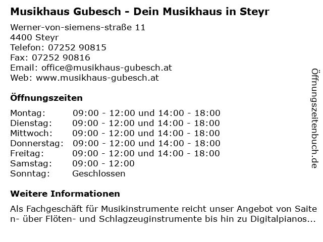 Musikhaus Gubesch - Dein Musikhaus in Steyr in Steyr: Adresse und Öffnungszeiten