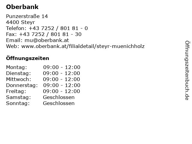 Oberbank in Steyr: Adresse und Öffnungszeiten