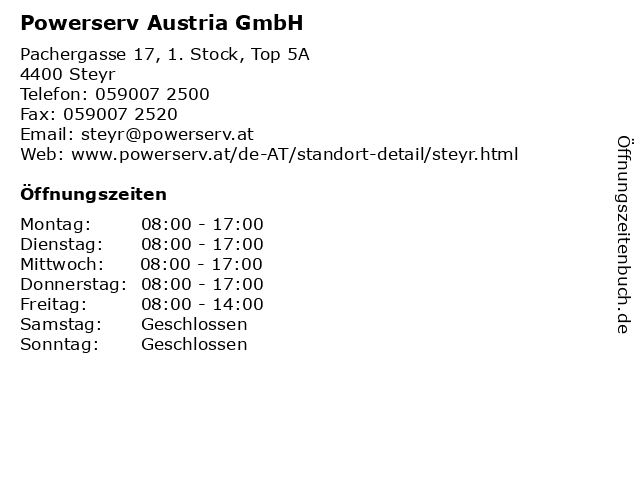 Powerserv Austria GmbH in Steyr: Adresse und Öffnungszeiten