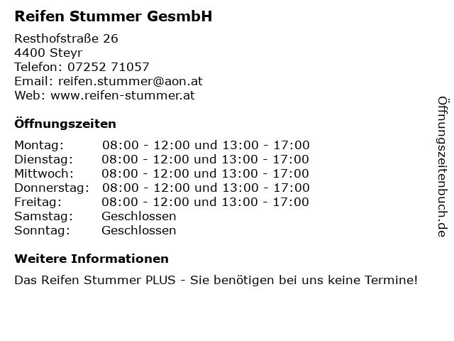 Reifen Stummer GesmbH in Steyr: Adresse und Öffnungszeiten
