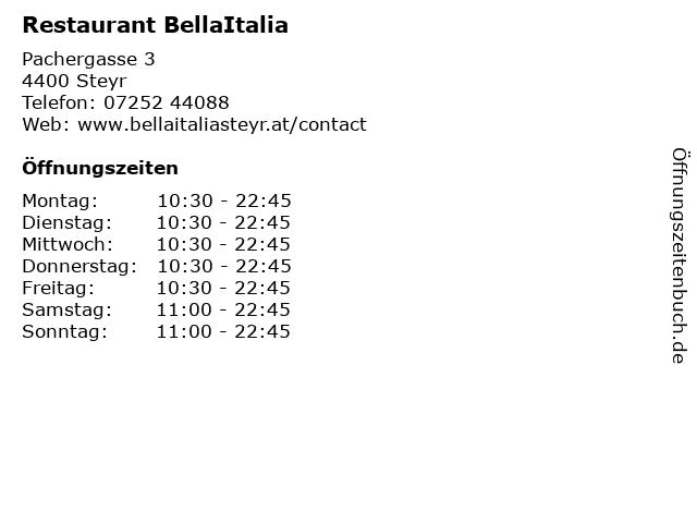 Restaurant BellaItalia in Steyr: Adresse und Öffnungszeiten