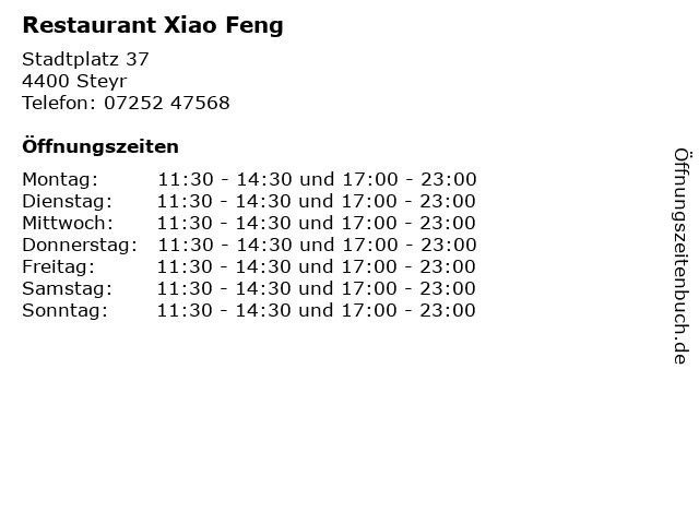 Restaurant Xiao Feng in Steyr: Adresse und Öffnungszeiten