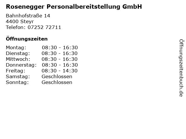 Rosenegger Personalbereitstellung GmbH in Steyr: Adresse und Öffnungszeiten