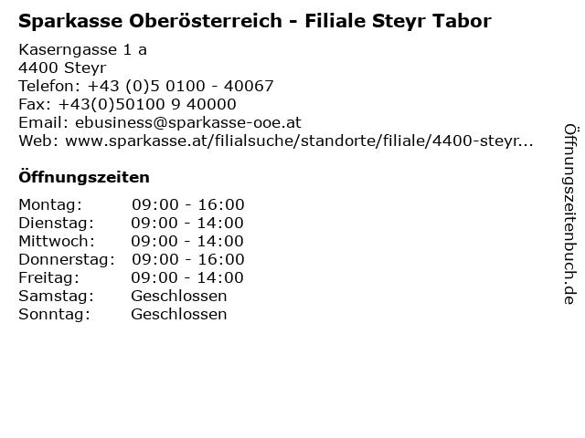 Sparkasse Oberösterreich - Filiale Steyr Tabor in Steyr: Adresse und Öffnungszeiten