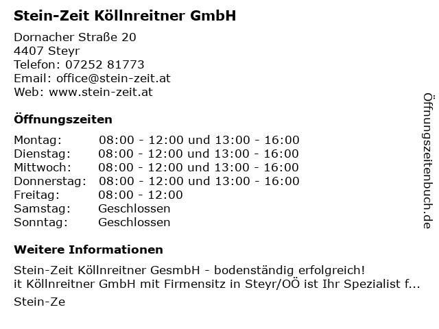 Stein-Zeit Köllnreitner GmbH in Steyr: Adresse und Öffnungszeiten