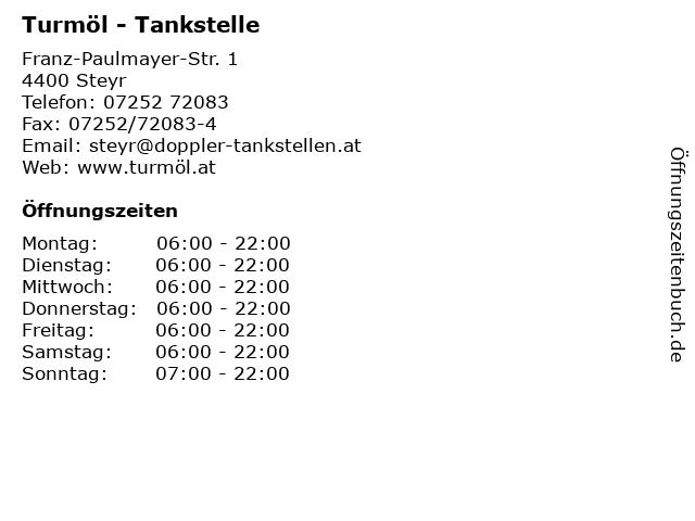 Turmöl - Tankstelle in Steyr: Adresse und Öffnungszeiten