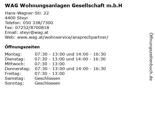 WAG Wohnungsanlagen Gesellschaft m.b.H in Steyr: Adresse und Öffnungszeiten