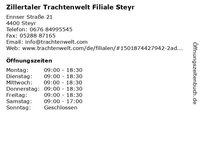 Zillertaler Trachtenwelt Filiale Steyr in Steyr: Adresse und Öffnungszeiten