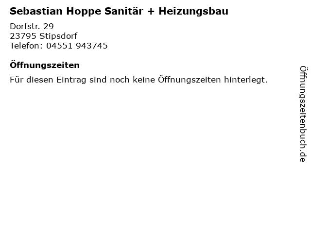 Sebastian Hoppe Sanitär + Heizungsbau in Stipsdorf: Adresse und Öffnungszeiten