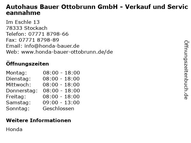 Autohaus Bauer Ottobrunn GmbH - Verkauf und Serviceannahme in Stockach: Adresse und Öffnungszeiten