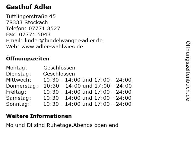 Gasthof Adler in Stockach: Adresse und Öffnungszeiten