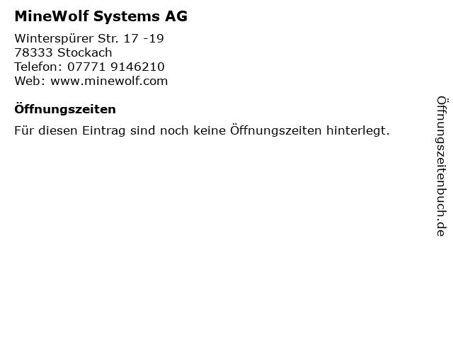 MineWolf Systems AG in Stockach: Adresse und Öffnungszeiten