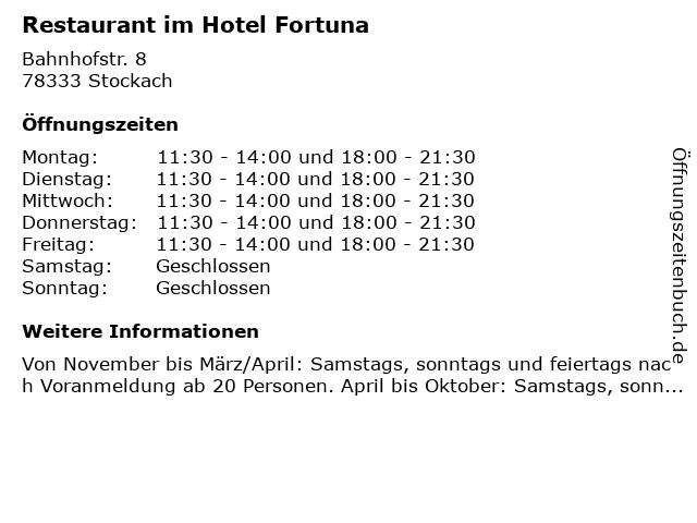 Restaurant im Hotel Fortuna in Stockach: Adresse und Öffnungszeiten