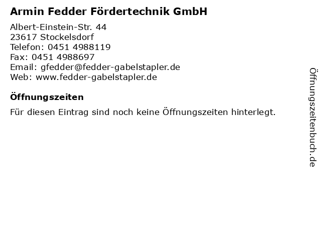 Armin Fedder Fördertechnik GmbH in Stockelsdorf: Adresse und Öffnungszeiten