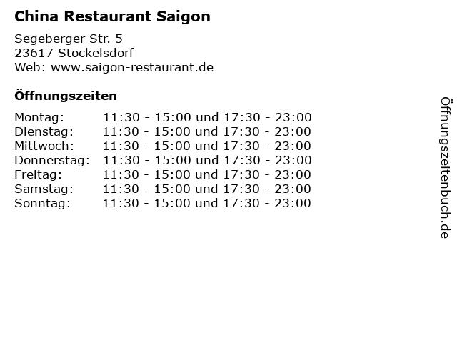 China Restaurant Saigon in Stockelsdorf: Adresse und Öffnungszeiten