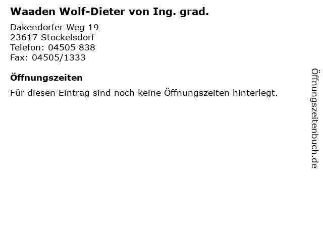 Waaden Wolf-Dieter von Ing. grad. in Stockelsdorf: Adresse und Öffnungszeiten