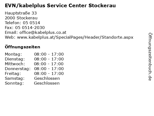 EVN/kabelplus Service Center Stockerau in Stockerau: Adresse und Öffnungszeiten