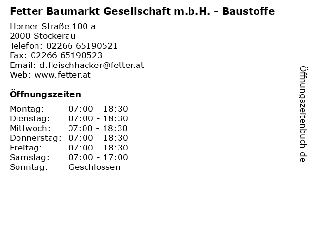 Fetter Baumarkt Gesellschaft m.b.H. - Baustoffe in Stockerau: Adresse und Öffnungszeiten