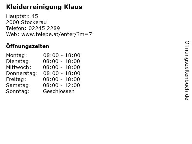 Kleiderreinigung Klaus in Stockerau: Adresse und Öffnungszeiten
