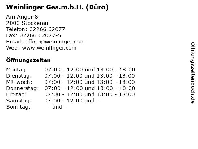 Weinlinger Ges.m.b.H. (Büro) in Stockerau: Adresse und Öffnungszeiten