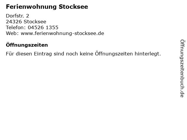 Ferienwohnung Stocksee in Stocksee: Adresse und Öffnungszeiten