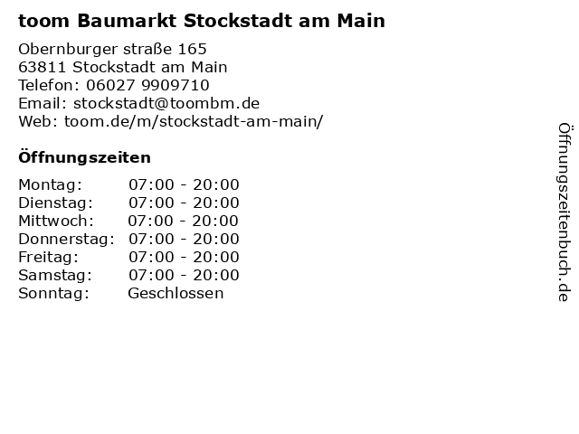 toom Baumarkt Stockstadt am Main in Stockstadt am Main: Adresse und Öffnungszeiten