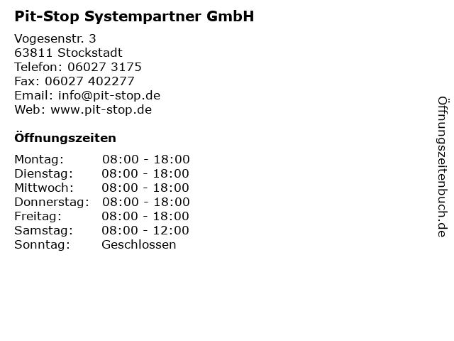 Pit-Stop Systempartner GmbH in Stockstadt: Adresse und Öffnungszeiten