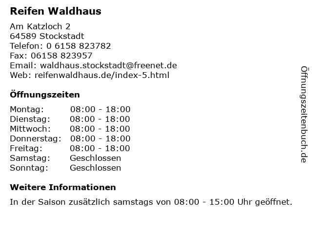 Reifen Waldhaus in Stockstadt: Adresse und Öffnungszeiten
