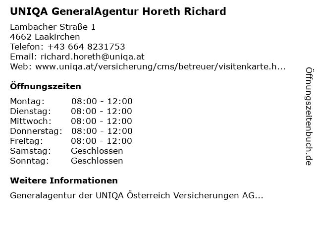 UNIQA GeneralAgentur Horeth Richard in Stötten: Adresse und Öffnungszeiten