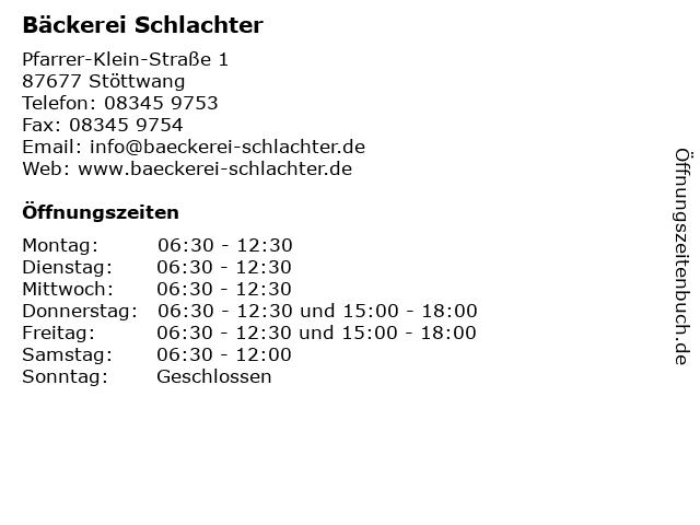 Bäckerei Schlachter in Stöttwang: Adresse und Öffnungszeiten