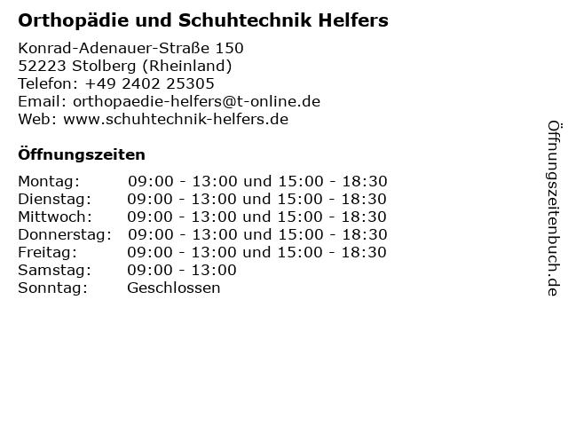 Orthopädie und Schuhtechnik Helfers in Stolberg (Rheinland): Adresse und Öffnungszeiten
