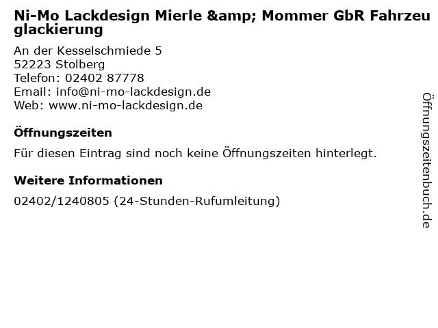 Ni-Mo Lackdesign Mierle & Mommer GbR Fahrzeuglackierung in Stolberg: Adresse und Öffnungszeiten