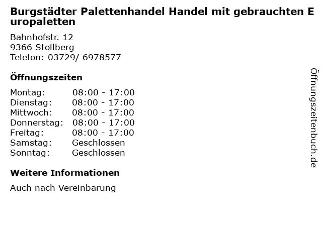 Burgstädter Palettenhandel Handel mit gebrauchten Europaletten in Stollberg: Adresse und Öffnungszeiten