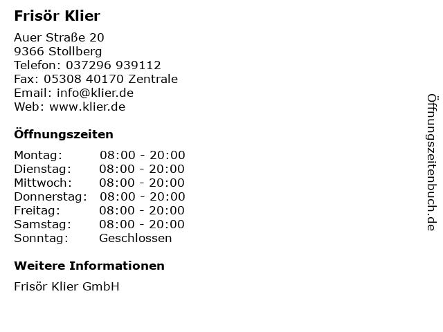 Frisör Klier in Stollberg: Adresse und Öffnungszeiten