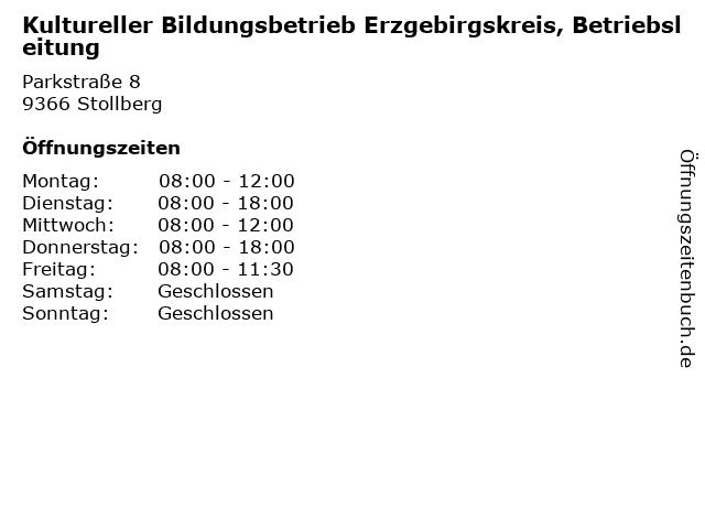 Kultureller Bildungsbetrieb Erzgebirgskreis, Betriebsleitung in Stollberg: Adresse und Öffnungszeiten