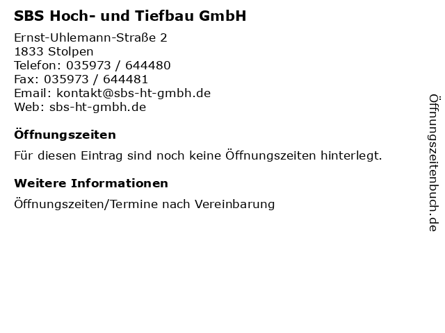 SBS Hoch- und Tiefbau GmbH in Stolpen: Adresse und Öffnungszeiten