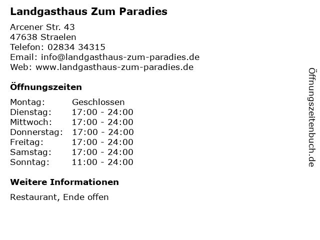 Landgasthaus Zum Paradies in Straelen: Adresse und Öffnungszeiten