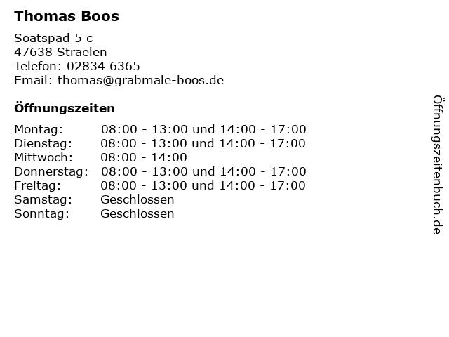 Thomas Boos in Straelen: Adresse und Öffnungszeiten