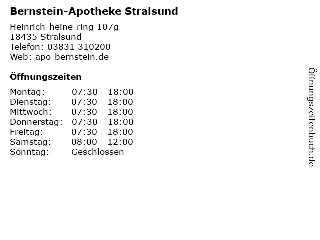 Bernstein-Apotheke in Stralsund: Adresse und Öffnungszeiten