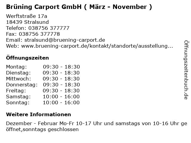 Brüning Carport GmbH ( März - November ) in Stralsund: Adresse und Öffnungszeiten