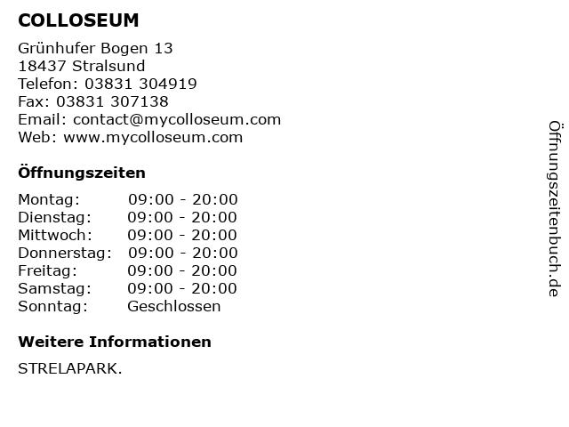 COLLOSEUM in Stralsund: Adresse und Öffnungszeiten