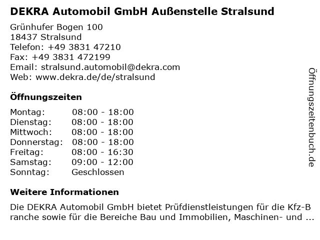 DEKRA Automobil GmbH Außenstelle Stralsund in Stralsund: Adresse und Öffnungszeiten