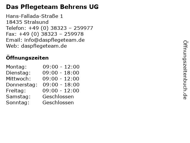 Das Pflegeteam Behrens UG in Stralsund: Adresse und Öffnungszeiten