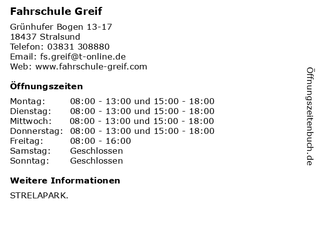 Fahrschule Greif in Stralsund: Adresse und Öffnungszeiten