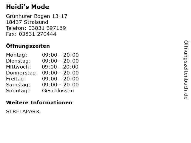 Heidi's Mode in Stralsund: Adresse und Öffnungszeiten