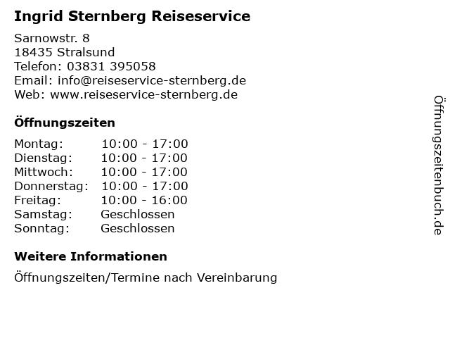 Ingrid Sternberg Reiseservice in Stralsund: Adresse und Öffnungszeiten