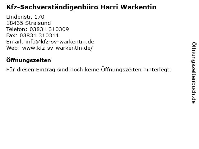 Kfz-Sachverständigenbüro Harri Warkentin in Stralsund: Adresse und Öffnungszeiten