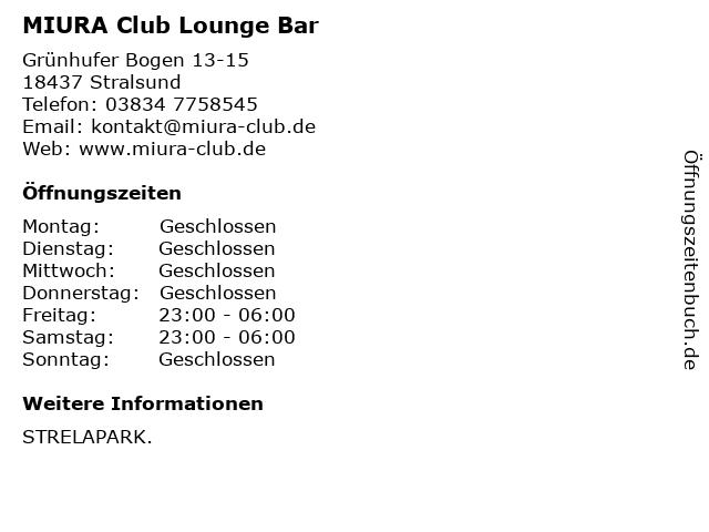 MIURA Club Lounge Bar in Stralsund: Adresse und Öffnungszeiten