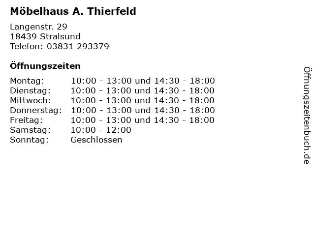 ᐅ öffnungszeiten Möbelhaus A Thierfeld Langenstr 29 In Stralsund