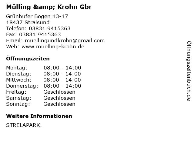 Mülling & Krohn Gbr in Stralsund: Adresse und Öffnungszeiten